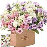 SnailGarden Mini Flores de Crisantemo Artificiales,60 Cabezas 3 Paquetes Ramo de Flores de Claveles Realistas de Seda,con Tarjeta de Felicitación & Bolsa de Papel Marrón para Decoración