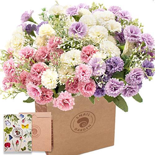 SNAILGARDEN Artificial Carnations Flowers,60 Heads 3 Bundles Silk Realistic Mini Chrysanthemum...