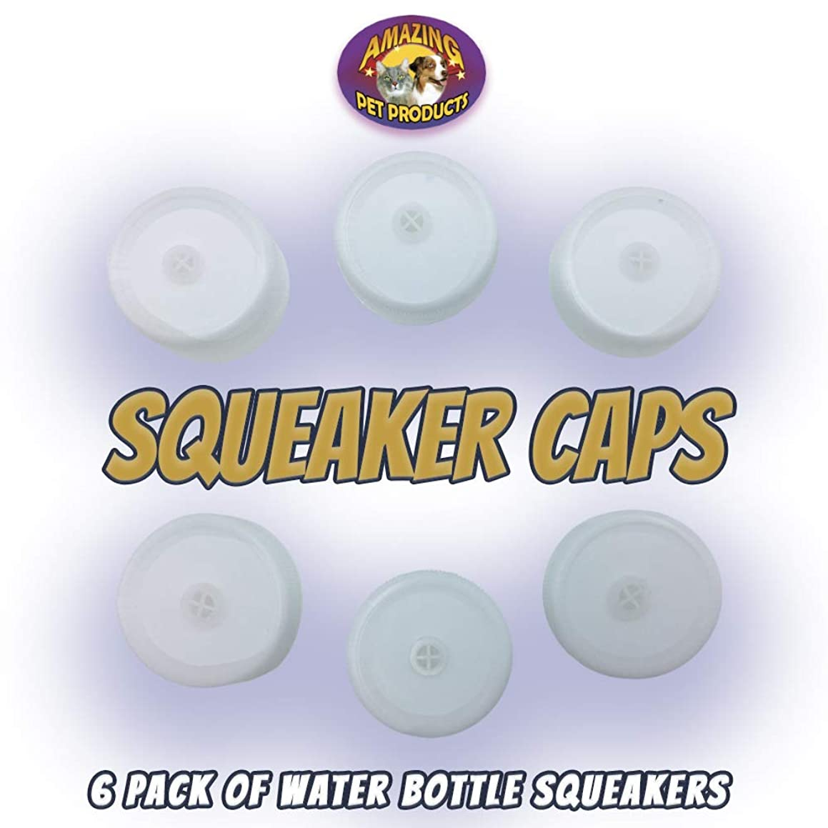 6 Pack of Squeaker Caps for Amazing Pet Bottle Shaggies Fits Most Plastic Bottles