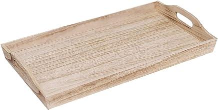 Preisvergleich für Brillibrum Design Serviertablett Holz Rechteckig Küchentablett Natur Tabletts Aus Holz Mit Griff (Groß (50 cm))