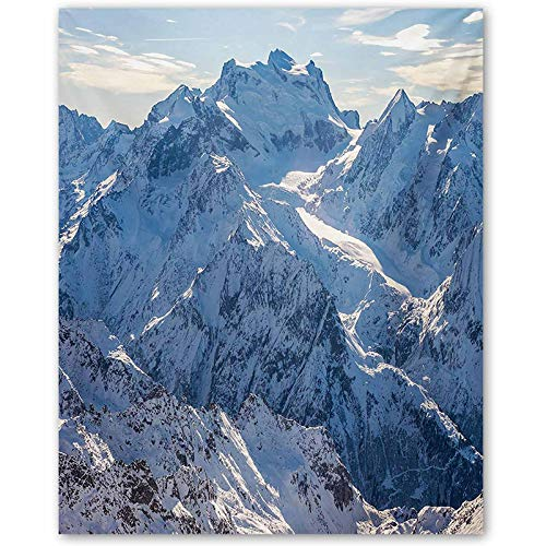 crabee Mountain Movie Poster Snowy Mountain Scene Under The Sky Winter Wilderness Untrodden Nature Print Best Funny Gifts White and Blue L16 x H24 Inch