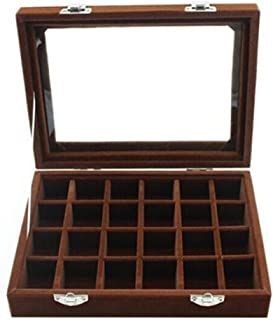 Niome 24 Grids Girls Velvet Glass Jewelry Box Ring Earrings Display Organizer Holder Storage Case Brown
