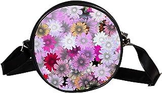 COOSUN Umhängetasche mit Blumen-Motiv, rund, für Kinder und Damen