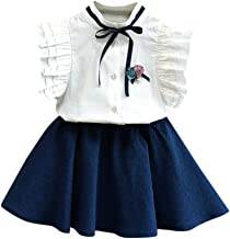 Youmymine Toddler Kids Baby Girls Sleeveless Outfits Clothes Flower Bowknot Shirt Top+Short Skirt Set