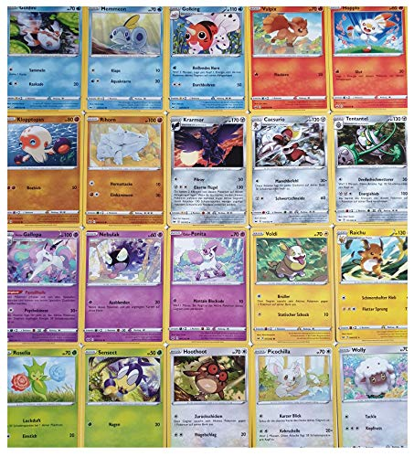 Pokemon Karten - 25 Verschiedene Pokemon Karten aus Schwert und Schild Editionen - Nur Deutsche Karten