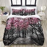 Copripiumino, Fioritura Fiori di bosco rosa e grigio Fiori di ciliegio Parco Primavera Alberi floreali Paesaggio stradale Scenico, Set di biancheria da letto Comodi set di microfibra di lusso leggero