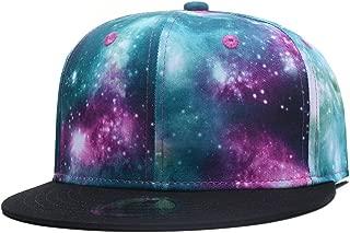 Quanhaigou Purple Galaxy Snapback Hat Unisex Trucker Hat Hip Hop Plaid Flat Bill Brim Adjustable Baseball Cap