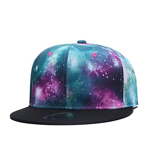 Quanhaigou Purple Galaxy Snapback Hat Unisex Trucker Hat Hip Hop Plaid Flat  Bill Brim Adjustable Baseball a9888d3856a2
