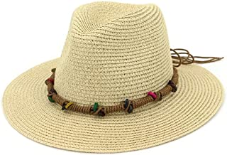 SXQ Summer Handmade Straw Hat Women's Outdoor Travelling Wide-brimmed Beach Hat Ladies' Sun Hat With Colorful Beads Decoration Foldable Sunproof Straw Hat UV Protective Panama Hat Visor For Vocation S