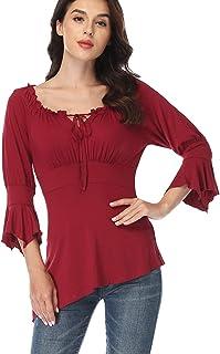 Dilgul T-Shirt Tunique pliss/é /à Manches Longues pour Femmes