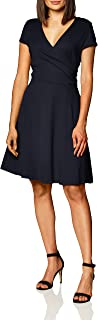 Amazon Brand - Lark & Ro Women's Cap Sleeve Faux Wrap Fit and Flare Dress