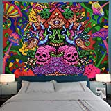Leofanger Psychedelic Arabesque Tapestry Skull Tapestry Trippy Mushrooms Tapestry Fantasy Fractal Tapestry Bohemian Hippie Tapestry Wall Hanging for Room
