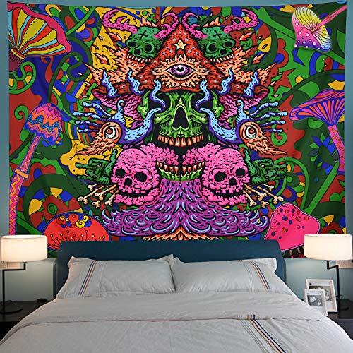 Leofanger Psychedelic Arabesque Tapestry Skull Tapestry Trippy Mushrooms Tapestry Fantasy Fractal Tapestry Bohemian Hippie Tapestry Wall Hanging for Room