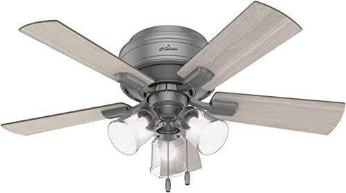 high quality Hunter discount Crestfield Indoor Low Profile Ceiling Fan with 2021 LED Light and Pull Chain Control sale