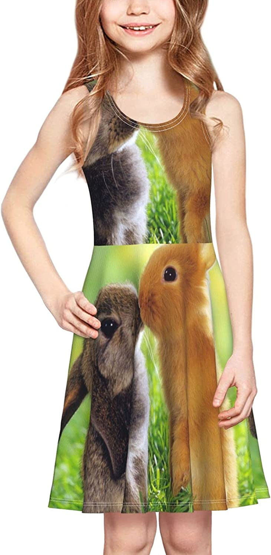 Cute-Kiss-Rabbit Dress Girl's Soft Stretch Casual Skirt Tank Dress
