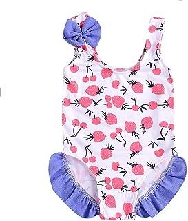 Toddler Kids Baby Girls Summer Sleeveless Bikini Fruits Bowknot Beach Swimsuits Bathing Suits