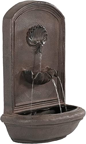 high quality Sunnydaze Seaside Outdoor Wall Water Fountain - Waterfall Wall Mounted Fountain & Backyard Water Feature with discount Electric Submersible online sale Pump - Iron Finish - 27 Inch outlet online sale