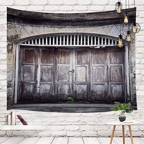 Tapiz de madera rústico rústico del país del vaquero que cuelga de la pared, puertas de granero antiguas de madera antiguas con el panel de pared de piedra Tapiz de pared para la decoración del dormit