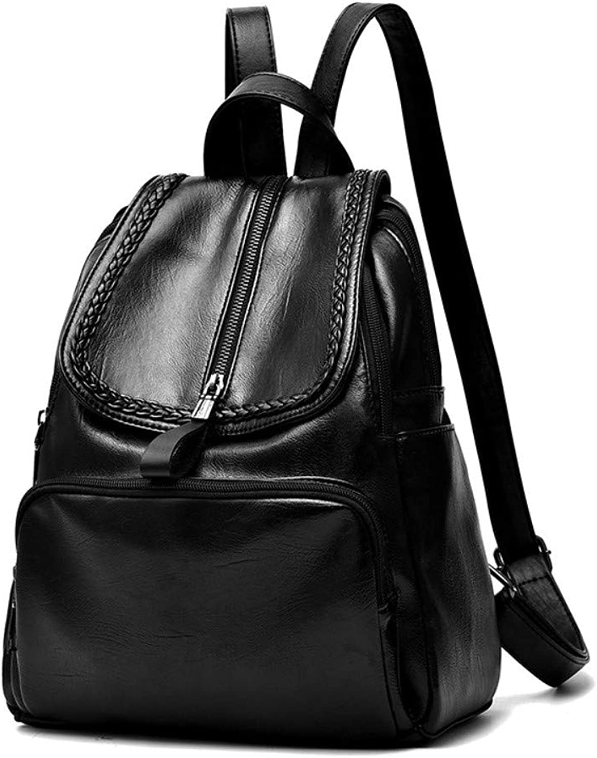 Z.H-H Wild Fashion, Small Fresh Lady Casual, Simple and Large-Capacity Personality Backpack pu Soft Leather