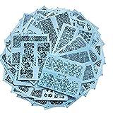 AIUIN Azul Pegatina de Uñas Francesas Guías de Clavar Tip Pegatinas Conjunto con Diferentes Formas para Uñas de Manicura,54 * 64MM (72 Piezas)