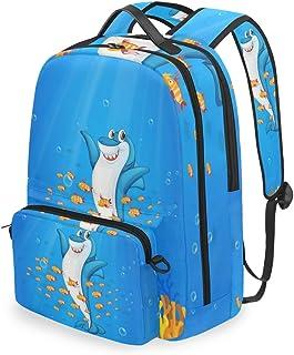 Mochila con bolsa de cruz desmontable Set Cute Shark Computadora Mochilas Bolsa de libro para viajes Senderismo Camping Daypack