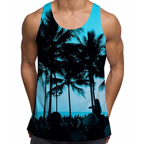 6f8e1511d0f99 Mens Vests Gym Workout Printed Tank Top Ibiza Palm Trees Summer Holiday  Clothes