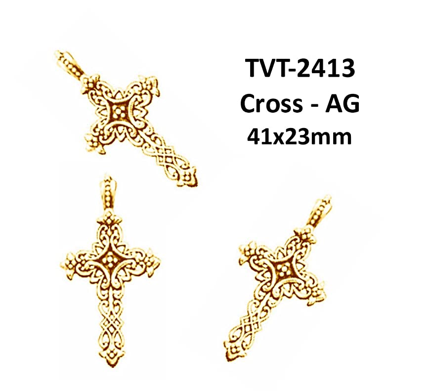 PlanetZia 3 pcs 41x23mm Cross Pewter Charm for Jewelry Making TVT-2413 (Antique Gold)
