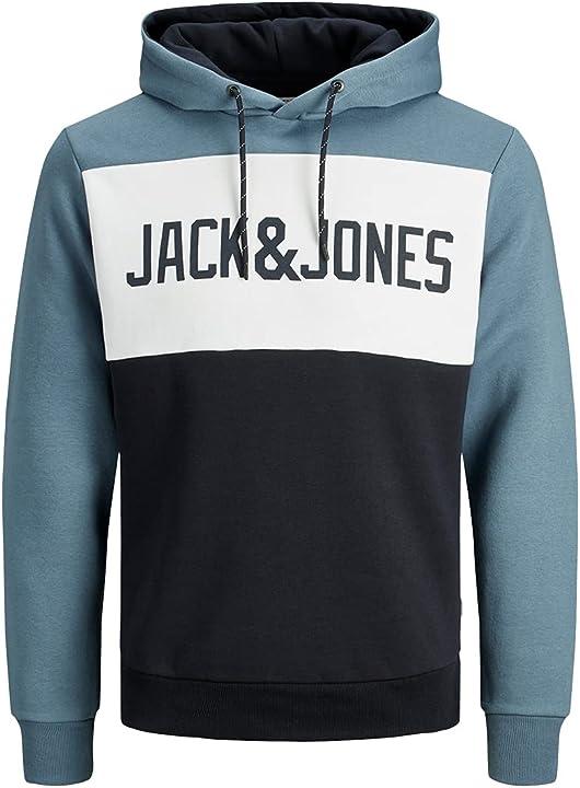 Felpa con cappuccio uomo jack & jones jjelogo blocking sweat hood sts 12172344