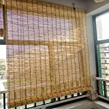 KDDEON Blackout Sun Shade Breathable Bamboo Roller Blinds,Natural Hand-Woven Reed Curtains,Wall Decoration Lifting Roll Up Window,Balcony Partition Privacy Straw Door Curtain (115x160cm/45x63in)