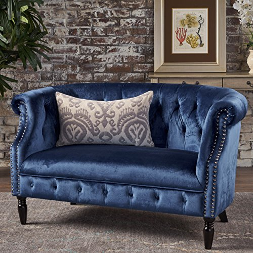 Christopher Knight Home Melaina Navy Blue Tufted Rolled Arm Velvet Chesterfield Loveseat Couch