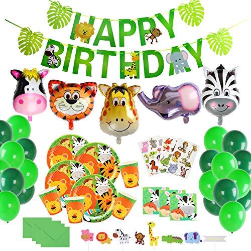 Herefun Selva Fiesta de Cumpleaños Decoracion Niño, Safari Decoracion Cumpleaños Accesorio de Fiesta de Cumpleaños Vajilla Animales de Jungla Pancartas Globos Vasos Platos Sirve 16 Invitados(A)