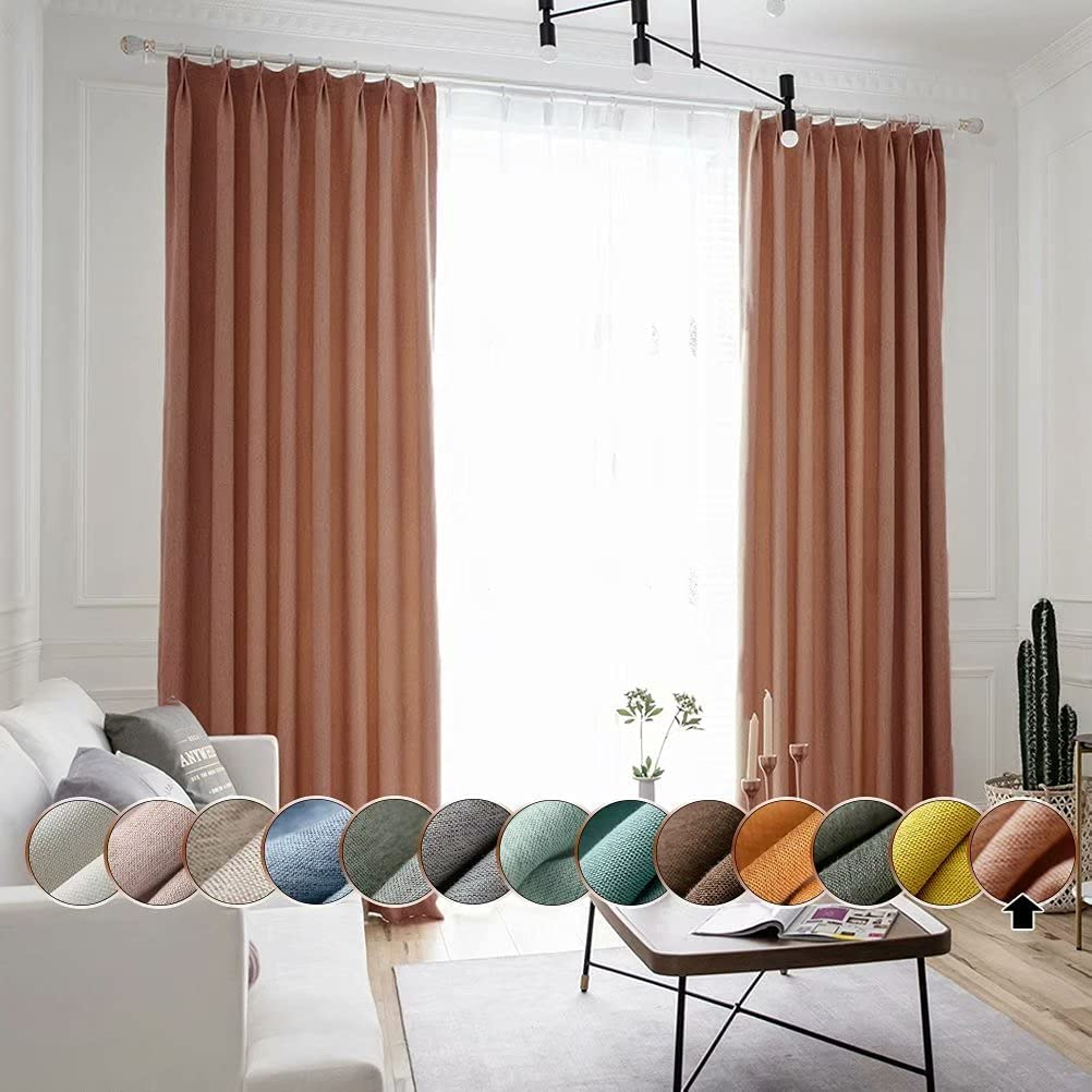MacoHome Fine Linen Half Blackout Super special price Over item handling ☆ Curtain I x 42 Thermal Inch 63