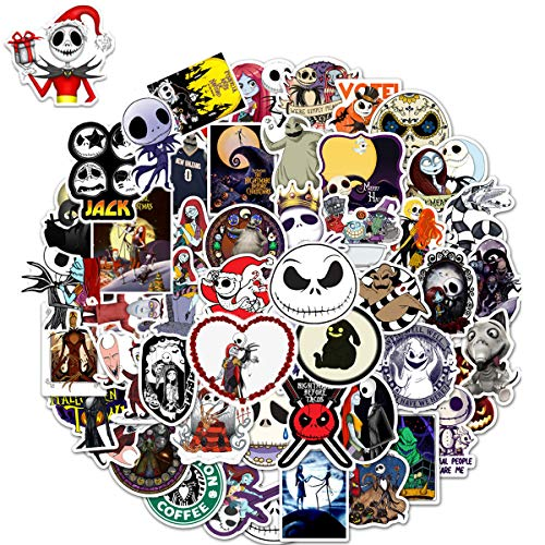 WOCOCO Stickers for Nightmare Before Christmas Stickers Style, Vinyl Stickers for Tim Burton, Suitable for Hydroflask Laptop Water Bottle, Waterproof, Sun Protection, No Residue Removal (50 Pcs)