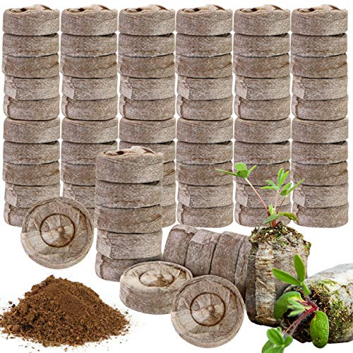 Fireboomoon 100 PCS 30mm Peat Fiber Soil Plant Seed Starters,Seedling Nursery Fertilizer Nutrient Compressed Soil Block for Herbs,Flowers,Vegetables,Transplanting Planting