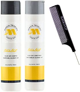 Marcia Teixeira Keratin Care COLOR-SAFE Shampoo & Conditioner DUO SET, Sulfate-Free for Chemically Treated & Dry Hair (w/Sleek Comb) Colour Hair (10 oz / 300 ml - ORIGINAL DUO KIT)