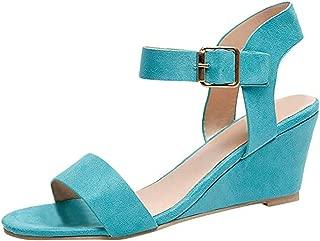 Women's Strappy Wedge Sandals Buckle Peep Toe Platform Sandals