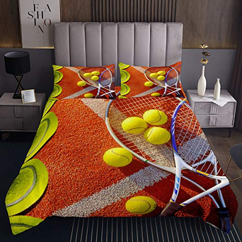Homewish Juego de colcha de tenis 3D de tamaño doble, con diseño de raqueta cruzada, color verde y amarillo