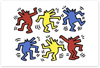 Funny Ugly Christmas Sweater Keith Haring Pop Art Dog Dancers Street Art Keith Haring Poster Art Prints for Wall Decor American Street Art Style Colorful Room Design 8