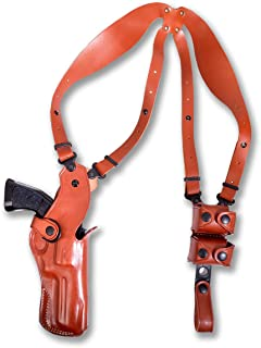 Premium Leather Vertical Shoulder Holster System with Double Speed Loader, Revolver Ruger Vaquero 45 Colt 5.5''BBL, Right Hand Draw, Brown Color #1833#