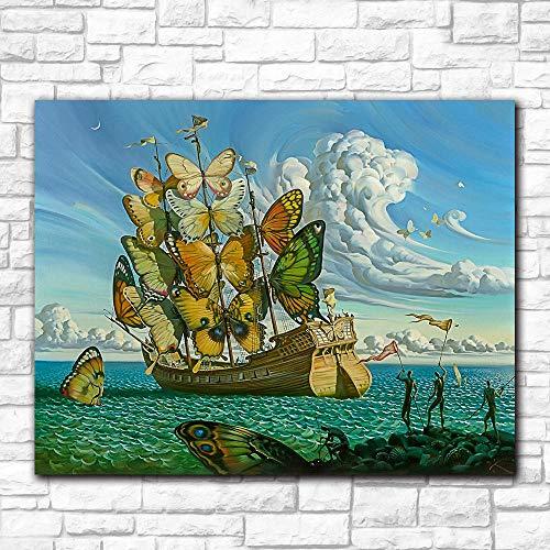 WSHIYI Arte de Pared de Moda Salvador Dali Pintura Mariposa Barco Cuadros de Pared para Sala de Estar Decoración del hogar Pinturas Impresas 60x80cm (23.6x31.5 Pulgadas) Sin Marco
