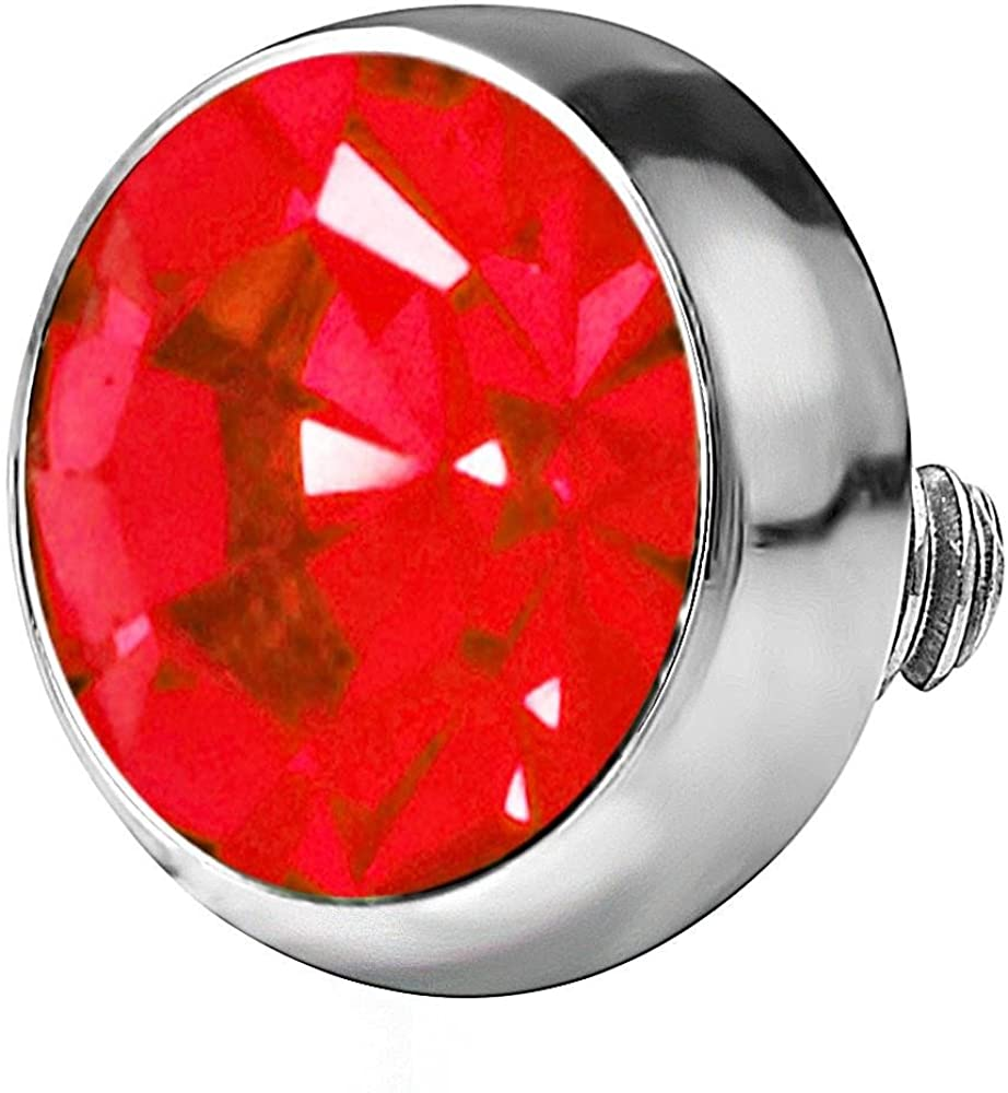 Forbidden Body Jewelry 14g 316L Internally Threaded Ultra Thin Flat Disc Red 4.4 mm Gem Top for Dermal Piercing