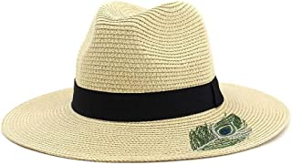SXQ Summer Handmade Straw Hat Women's Outdoor Travelling Wide-brimmed Beach Hat Ladies' Sun Hat With Black Cloth Ribbon Decoration Foldable Sunproof Straw Hat UV Protective Panama Hat Visor For Vocati