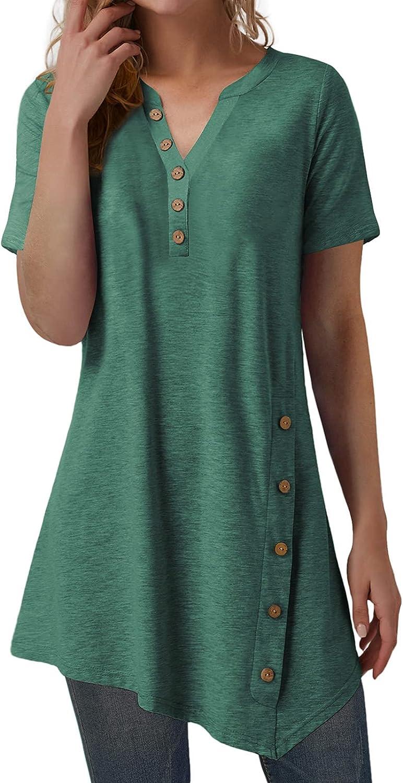 Women's Short Sleeve V Neck T Shirt Button Side Tunic Tops Blouse Asymmetrical Shirt Top