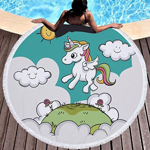 Einhorn Sonne Wolke Strandtuch Groß Rund Microfaser Strandhandtuch Stranddecke Badetuch Picknickdecke Wandbehang Yoga Matten 150cm