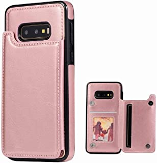 For Samsung Galaxy S10e Case Wallet with Card Holder Kickstand Card Slots Shockproof Cover Rose Gold