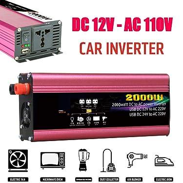 GUOYULIN Power Inverter 2000W Modified Sine Wave 12V/24V DC to 220V/110V AC Converter Outlets Car Inverter - Peak Power 4000 Watt with USB Ports Inverter,DC 12V~AC 110V