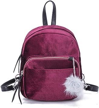 Womens Girls Travel Backpack Velvet Shoulder Bag Small Mini Rucksack School Bags
