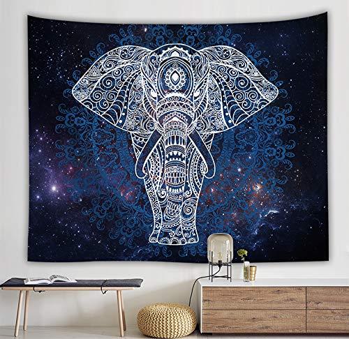 Tapiz para Elefante mandala cielo estrellado colgar en la pared con diseño de mandala hindú,para la playa, como sábana, mantel de mesa, toalla de playa, poliéster, Pareo Decoración hogareña130x150cm