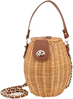 Retro Woven Handbag, Women's Natural Rattan Straw Bag, One-Shoulder Woven Handbag Messenger Bag, Holiday Beach Casual Bag, Leather Handle, 19 * 10Cm