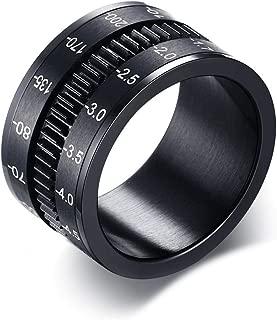P.BLAKE Mens Black Spinner Fidget Ring Stainless Steel, Camera Lens Design, 12mm Width Comfort Fit